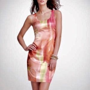 Ann Taylor Peach Watercolor Sheath Dress, Size 6